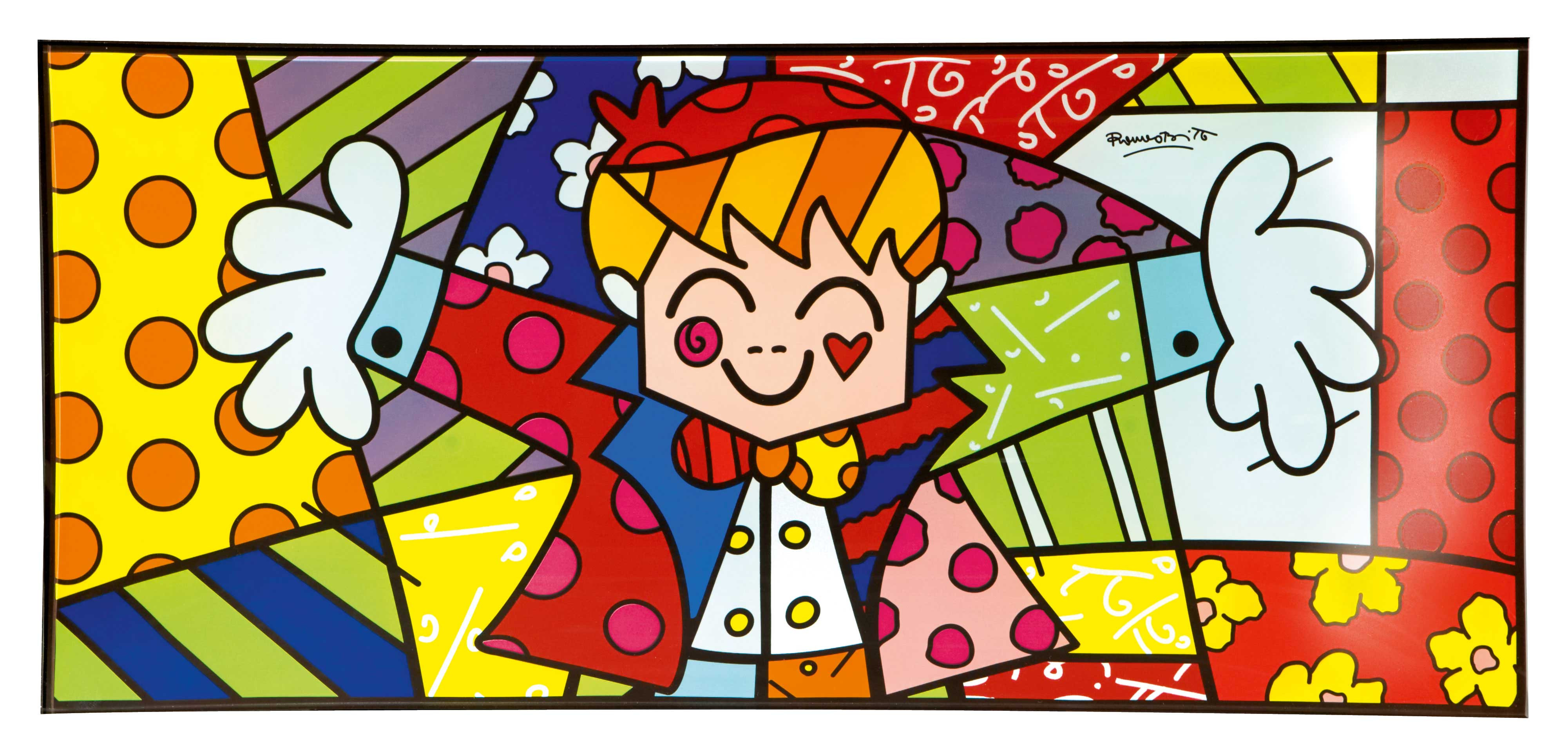Romero Britto Glass Bowl HUG TOO