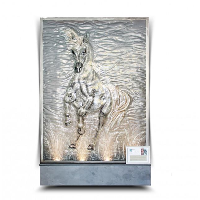 "Piotr Lisowski Glass Art Wall ""Arabian Horse""-32"