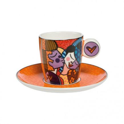 """Romero Britto Porcelain Espresso Cup """"KISSING""""-20"""