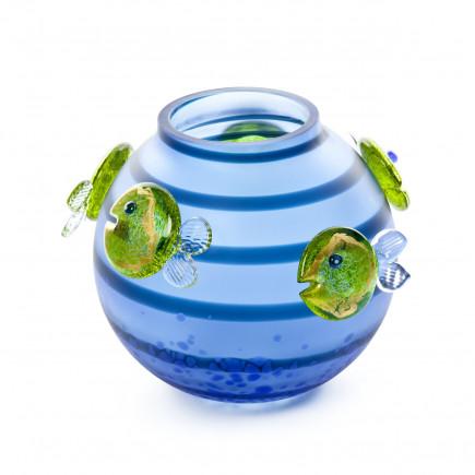 Borowski AQUA Blue-Lime-Green Vase Glass Art-20