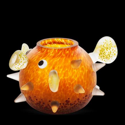 Borowski FUGU Vase Glass Art Amber-20
