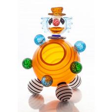 CLOWN Orange Bowl Glass Art