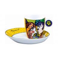 Romero Britto Taza con plato de Porcelana DELICIOUS-20