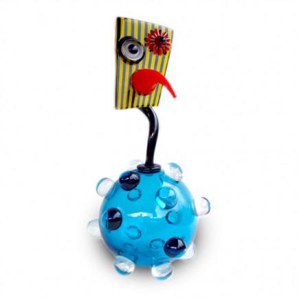 Fernando Agostinho Escultura BILLES Azul de arte en cristal-20