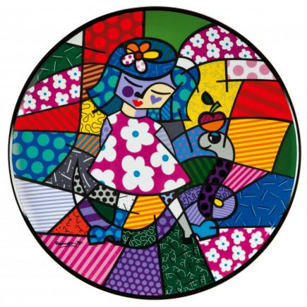 Romero Britto Plato para pared de Porcelana NIÑA CON SERPIENTE-20