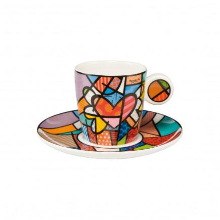 Romero Britto Taza con plato de Porcelana flying heart-20