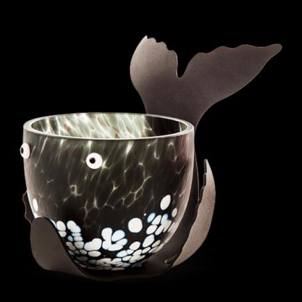 Borowski Bowl de cristal ORCA blanco y negro-20